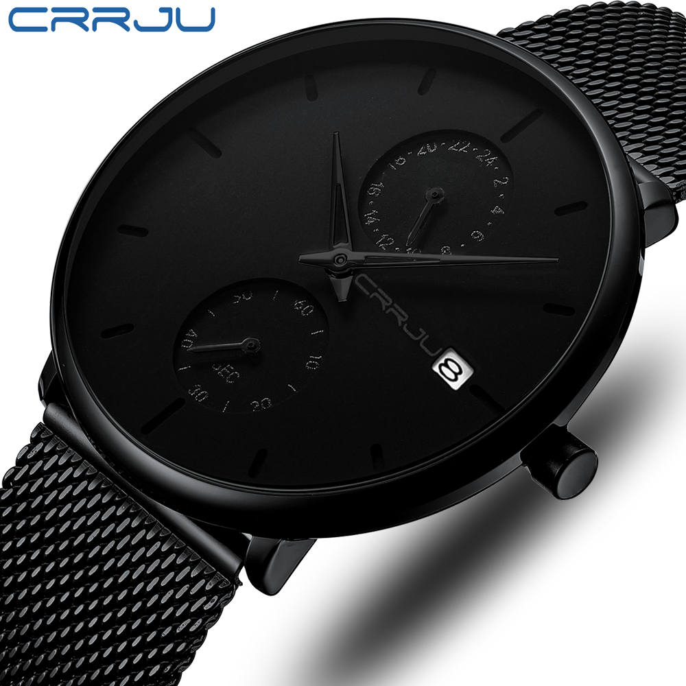 Men's Watches Top Luxury Brand CRRJU Analog Watch Men Stainless Steel Waterproof Quartz Wristwatch Date Relogio Masculino