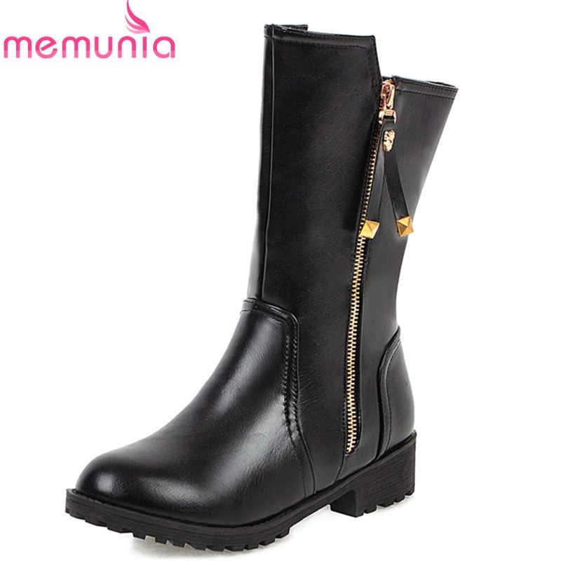 MEMUNIA 2020 büyük boy 43 kadın yarım çizmeler fermuar yuvarlak ayak sonbahar kış kısa çizmeler rahat alçak topuklu rahat ayakkabılar kadın