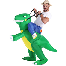 Inflatable Ride on Dinosaur Costumes Cosplay Blow Up Halloween Inflatable Costume Mascot Party costume for Adult Kid
