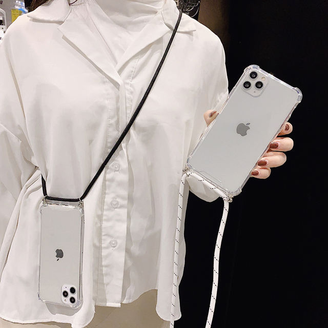 Transparent Phone Case with Strap Cable Chain for iPhone