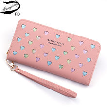 Fengdong womens wallets and purses female long phone wallet birthday gifts for girls ladies coin purse id credit card holder(China)