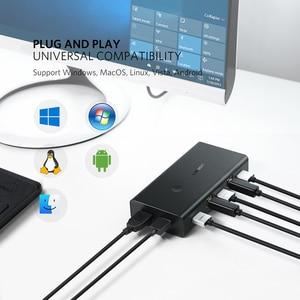 Image 5 - UGREEN KVM переключатель 2 в 4 выхода HDMI, коммутатор, коробка обмена usb хаб с 3 режимами переключения для принтера клавиатуры ноутбука KVM HDMI