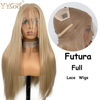 YYsoo Synthetic Full Lace Wigs Long Straight Blonde Glueless Wig Heat Resistant Fiber Full Hand Tied Brown Hair with Baby Hair