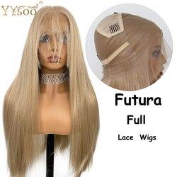YYsoo Synthetische Volle Spitze Perücken Lange Gerade Blonde Glueless Perücke Hitze Beständig Faser Volle Hand Gebunden Braun Haar mit Baby haar