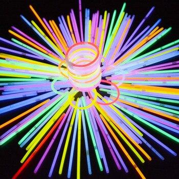 Christmas Party Neon Glowstick Light 100 Pcs Stick Kids Funny Glow Stick Toys Glow in The Dark Fluorescent Bracelet Toy for Kids party glow bangle fluorescence light glow bracelets necklaces neon wedding christmas party glow bangle bright colorful bangle