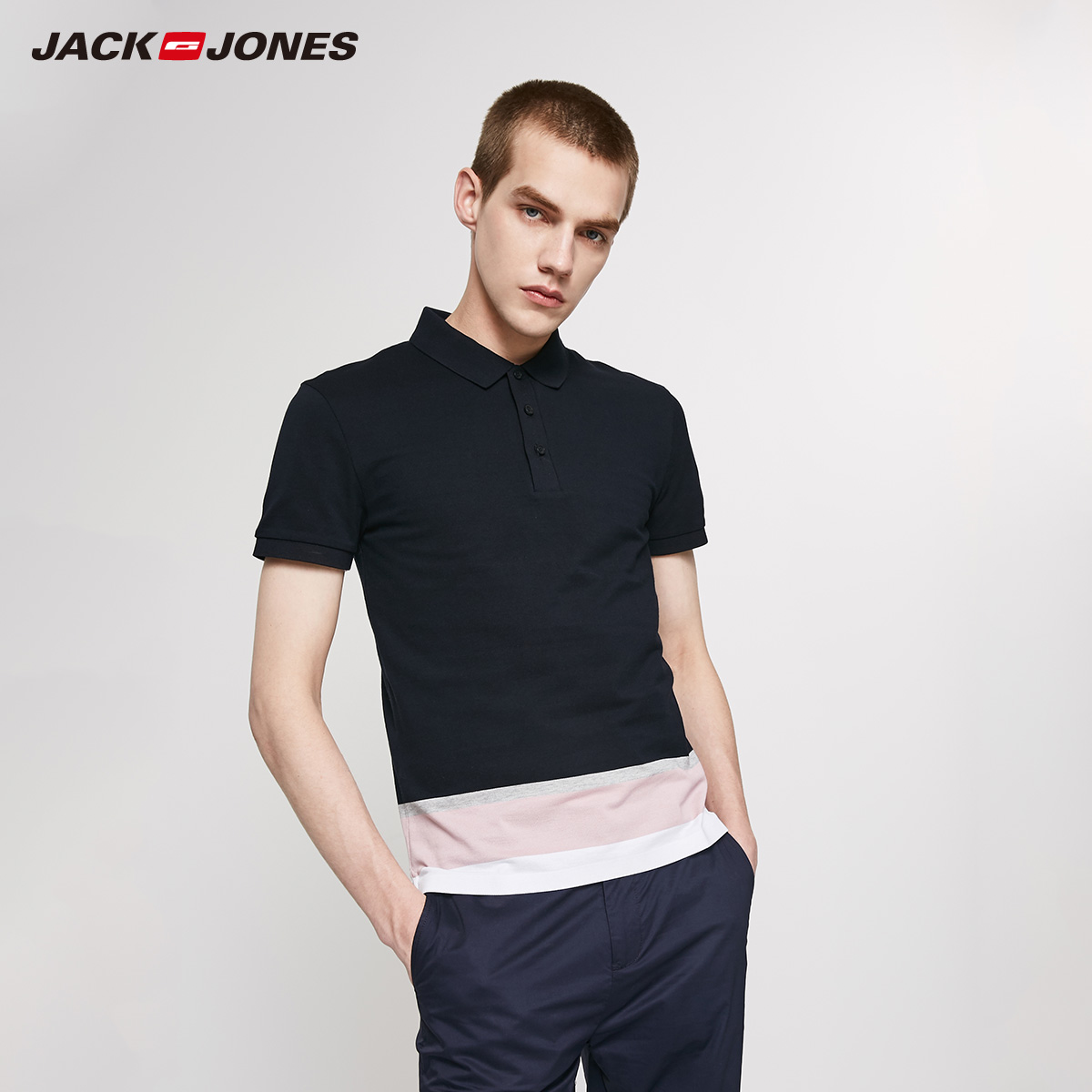 JackJones Men's Slim Fit 100% Cotton Contrasting Stripe Turn-down Collar Short-sleeved T-shirt|Basic 219206508