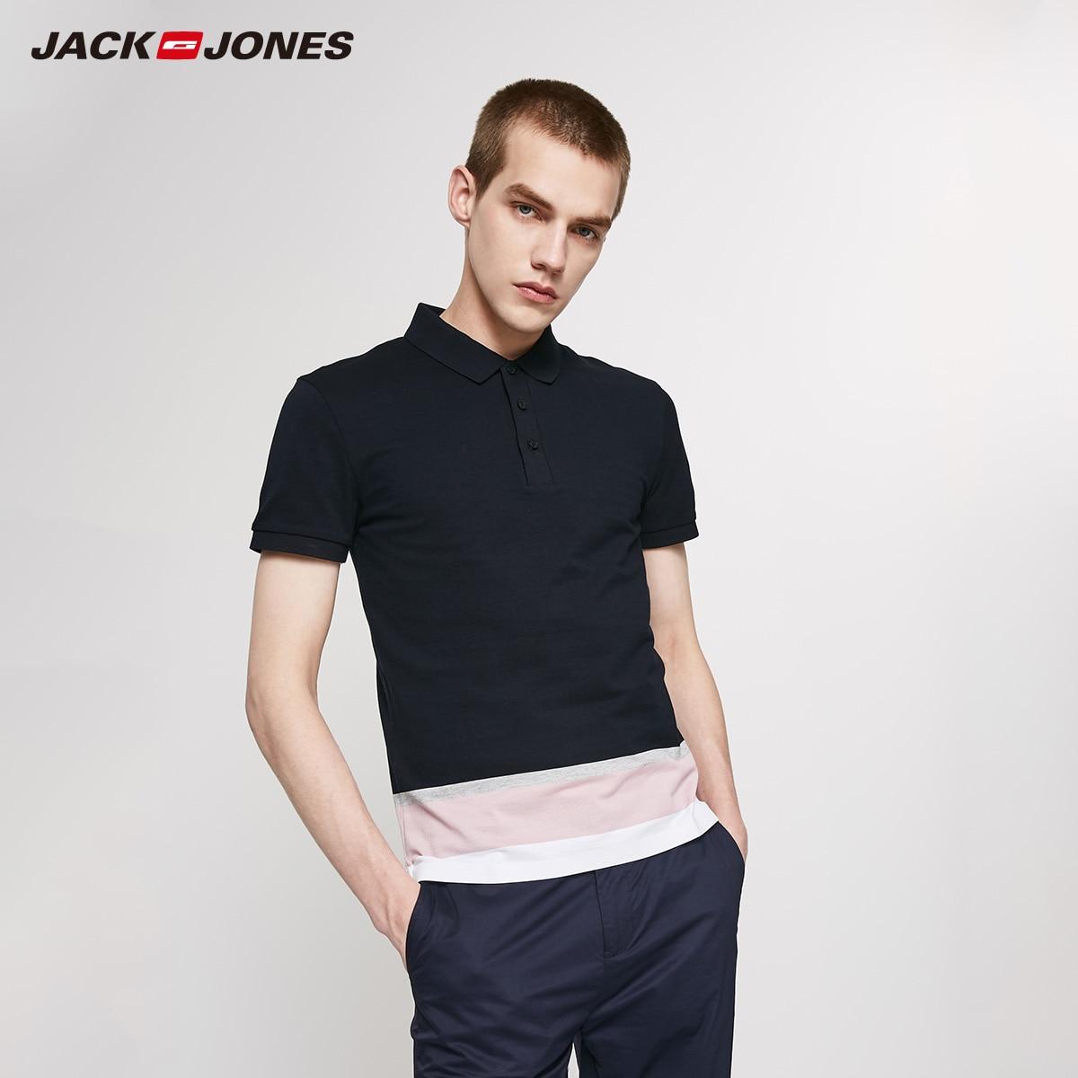 JackJones Men's Slim Fit 100% Cotton Contrasting Stripe Turn-down Collar Short-sleeved T-shirt Basic 219206508