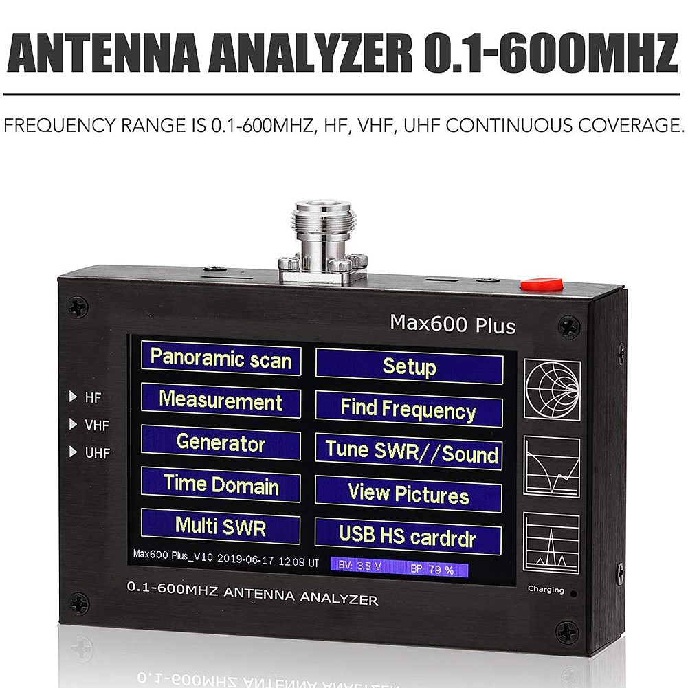 Analyzer Max600 Plus HF / VHF / UHF Antenna 0.1-600 Mhz Com / 4.3