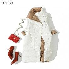 LUZUZI, Женский Двухсторонний пуховик, длинная куртка, зимняя водолазка, белый утиный пух, пальто, двубортный, теплый, парка, зимняя верхняя одежда