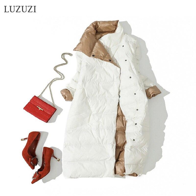 LUZUZI 2020 Women Double Sided Down Long Jacket Winter Turtleneck White Duck Down Coat Double Breasted Warm Parkas Snow Outwear|Down Coats| - AliExpress