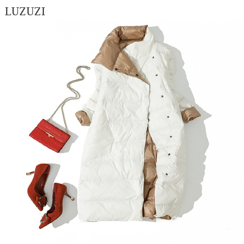 Coat Parkas Turtleneck Long-Jacket White-Duck-Down LUZUZI Warm Double-Breasted Winter title=