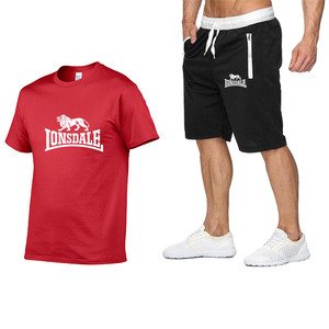Image 5 - Été hommes ensembles de vêtements de sport à manches courtes T shirts + Shorts nouvelle mode décontracté hommes ensembles Shorts + 2 pièces T shirts