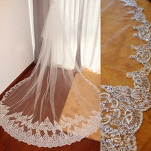 High Quality Cover Face Wedding Veil with Blusher 3 Meters 2 Tiers Bridal Comb Partial Lace Cathedral Bride