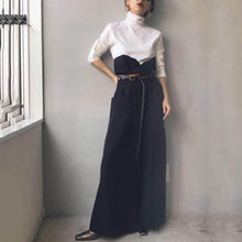 Loose Wide Legs Jumpsuit Women Korean Elegant Long Sleeve White T-shirt and Denim Cloth Patchwork Fashion Rompers Long Playsuit(China)