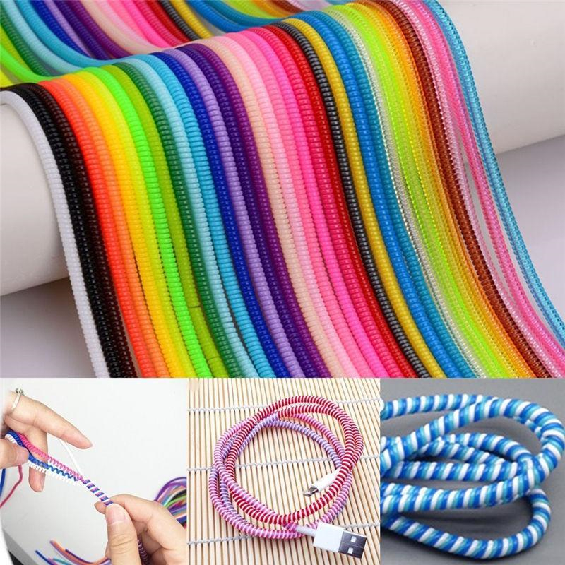 1.5M Color Phone Wire Cord Rope Protector USB Charging Cable Bobbin Winder Data Line Earphone Cover Suit Spring Sleeve Twine