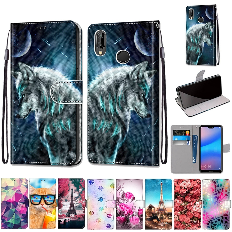 Leather Case for Coque Huawei P20 Lite Case Flip Cover Wallet Phone Case for Etui Huawei P20 P30 Pro Lite Nova 3E 4E Case Women