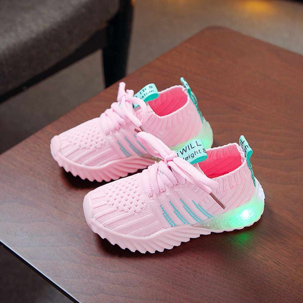Fashion Children LED Sneakers Winter Kid Baby Girls Boys Candy Color Led Shoes Mesh Luminous Sport Run Kids Sneakers Shoes