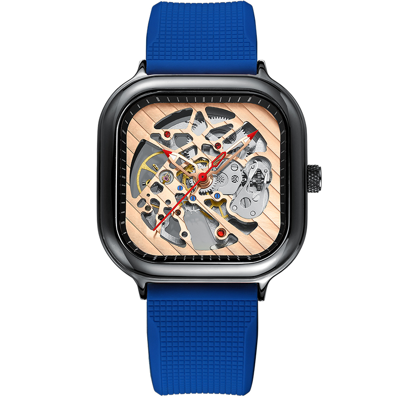 2020 new men's automatic watch top brand luxury silicone strap hollow Swiss square top ten watches 8