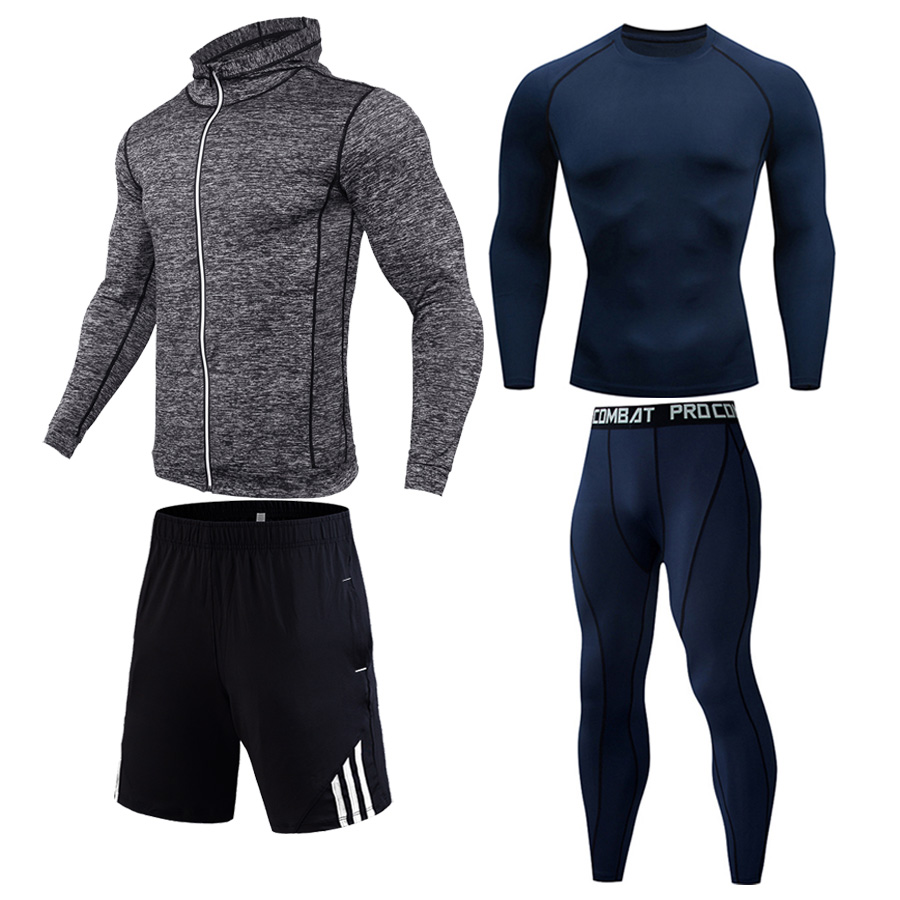 Men's Full Suit Tracksuit Sports Suit Winter Outdoor Running Kit Gym Fitness Clothes Compression Tights Thermal Underwear Xxxxl