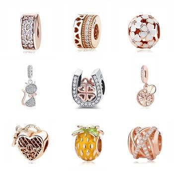 Подлинный оригинальный кулон из стерлингового серебра 925 пробы с подвеской из бисера, шармы на клипсах из розового золота, подходят для Pandora, браслеты для женщин, DIY ювелирные изделия