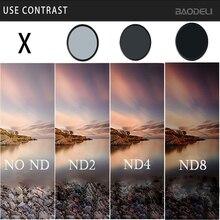 BAODELI Lens Filtro Nd 2 4 8 Filtre 49 52 55 58 62 67 72 77 82 Mm Kamera Için canon T6 M50 77d Nikon D3500 Sony X3000 A6000 Parçaları