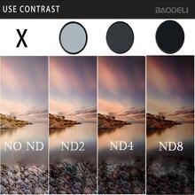 Фильтр BAODELI Nd 2 4 8 49 52 55 58 67 72 77 82 мм для объектива камеры Canon M50 600d 2000d Nikon D3200 D3500 D5100 D5600 Sony A6000