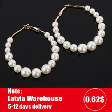 Women Elegant White Pearls Round Hoop Earrings Girl Birthday Party Big Pearl Circle Round Earrings Wedding Engagement Jewelry(China)