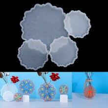1セットの花のコースターシリコーン金型uvエポキシ樹脂モールド花トレイカップためのdiy工芸品テーブル装飾ツール