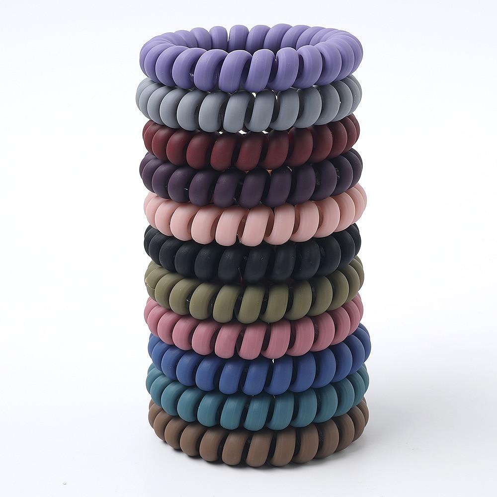 Mulheres cores mate grosso grande fio de telefone bandas de borracha stretchy cores profundas não-mark espiral bobina cordas de cabelo sólido laços 1 conjunto