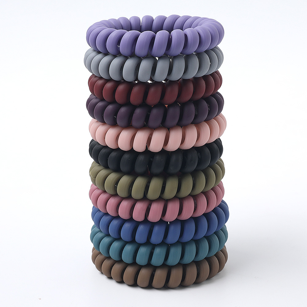 Women Matt Colors Thick Big Telephone Wire Rubber Bands Stretchy Deep Colors Non-mark Spiral Coil Ropes Solid Hair Ties 1Set