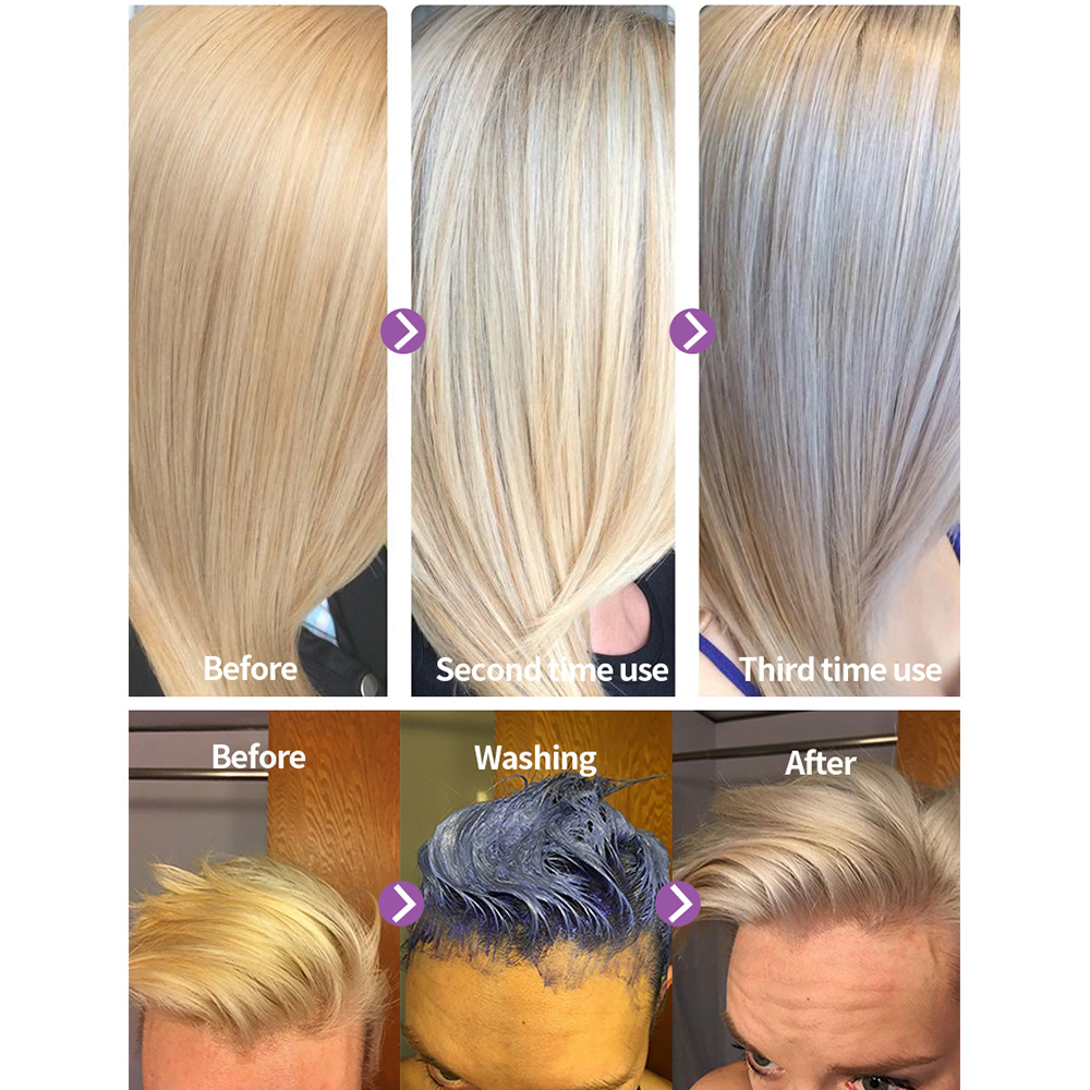 Hair Shampoo Removes Tones Yellow And Brassy For Silver Ash Look Purple PURC Blonde Purple