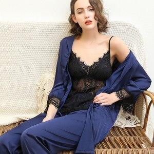 Image 3 - 2019 avrupa kadın Pijama setleri uzun kollu ipek saten dantel rahat 3 adet setleri kıyafeti Pijama gevşek ince gecelik Pijama