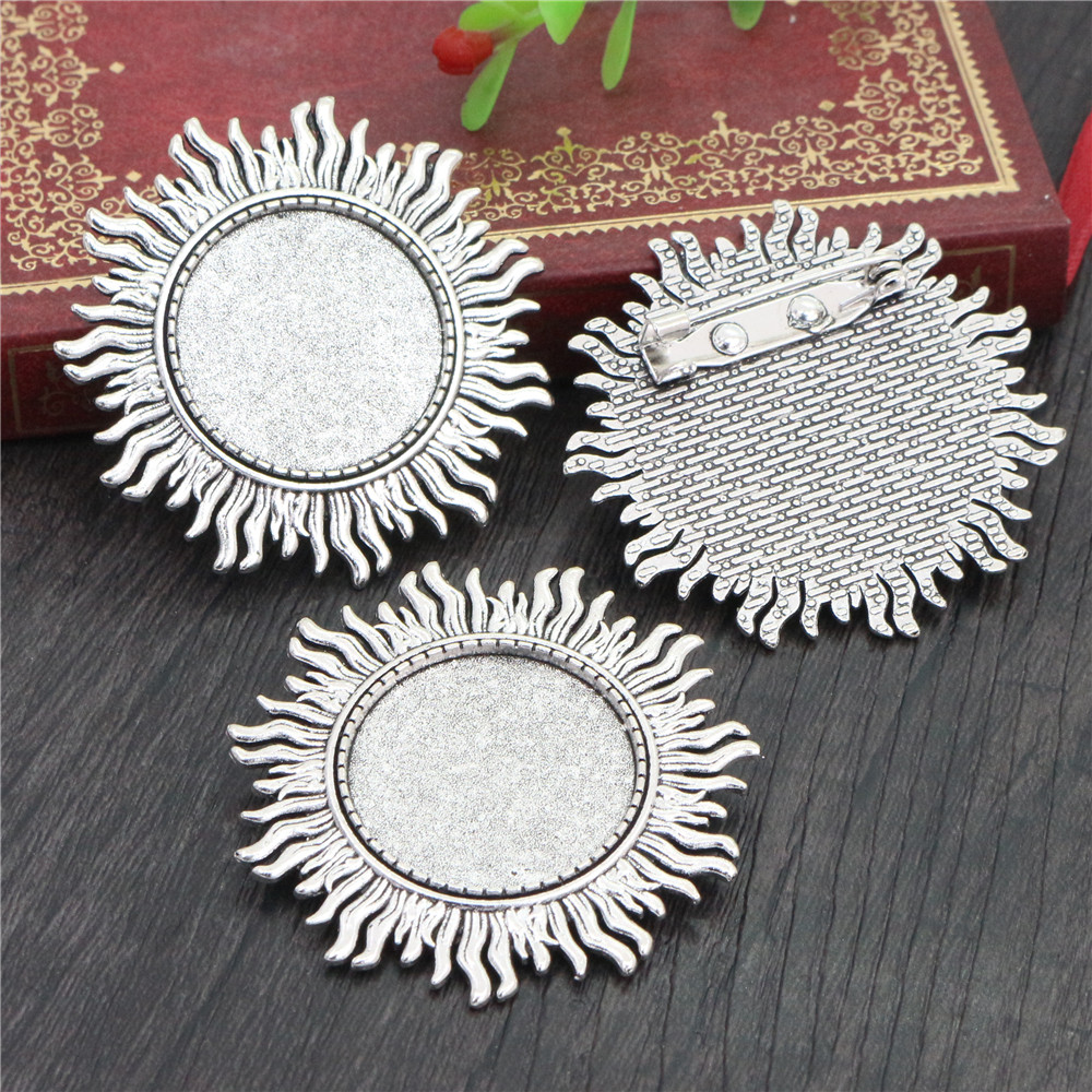New Fashion  2pcs 25mm Inner Size Antique Silver Plated Brooch Leaves Style Cabochon Base Setting (A3-40)
