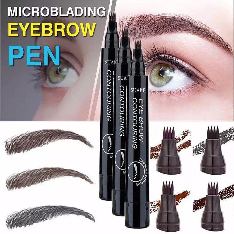 MB New 4 Heads Eyebrow Pen Waterproof Fork Tip Eyebrow  Pencil Long Lasting Professional Fine Sketch Liquid Eye Brow 5 Colors