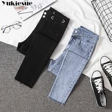Mom Jeans Trouser High-Waist Denim Women Pencil-Pants Elastic BLACK Blue Plus-Size Woman's