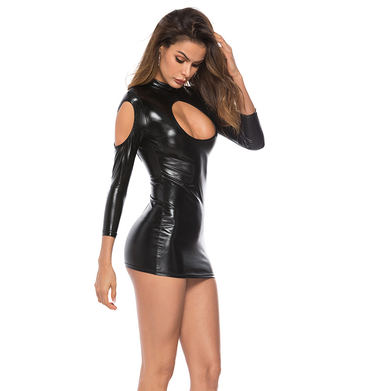 HKMN New <font><b>Latex</b></font> Dress For Women <font><b>Sexy</b></font> <font><b>Lingerie</b></font> Sex Leather Bodysuit Hot <font><b>Erotic</b></font> Underwear Porno Baby Doll <font><b>Latex</b></font> Stripper Clothes image
