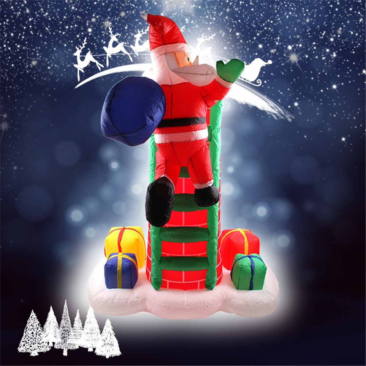 2.4M Waterproof PU  Inflatable Electric Climb Ladder Santa Claus  Inflatable Christmas Decoration Garden Inflatable Outdoor Toys