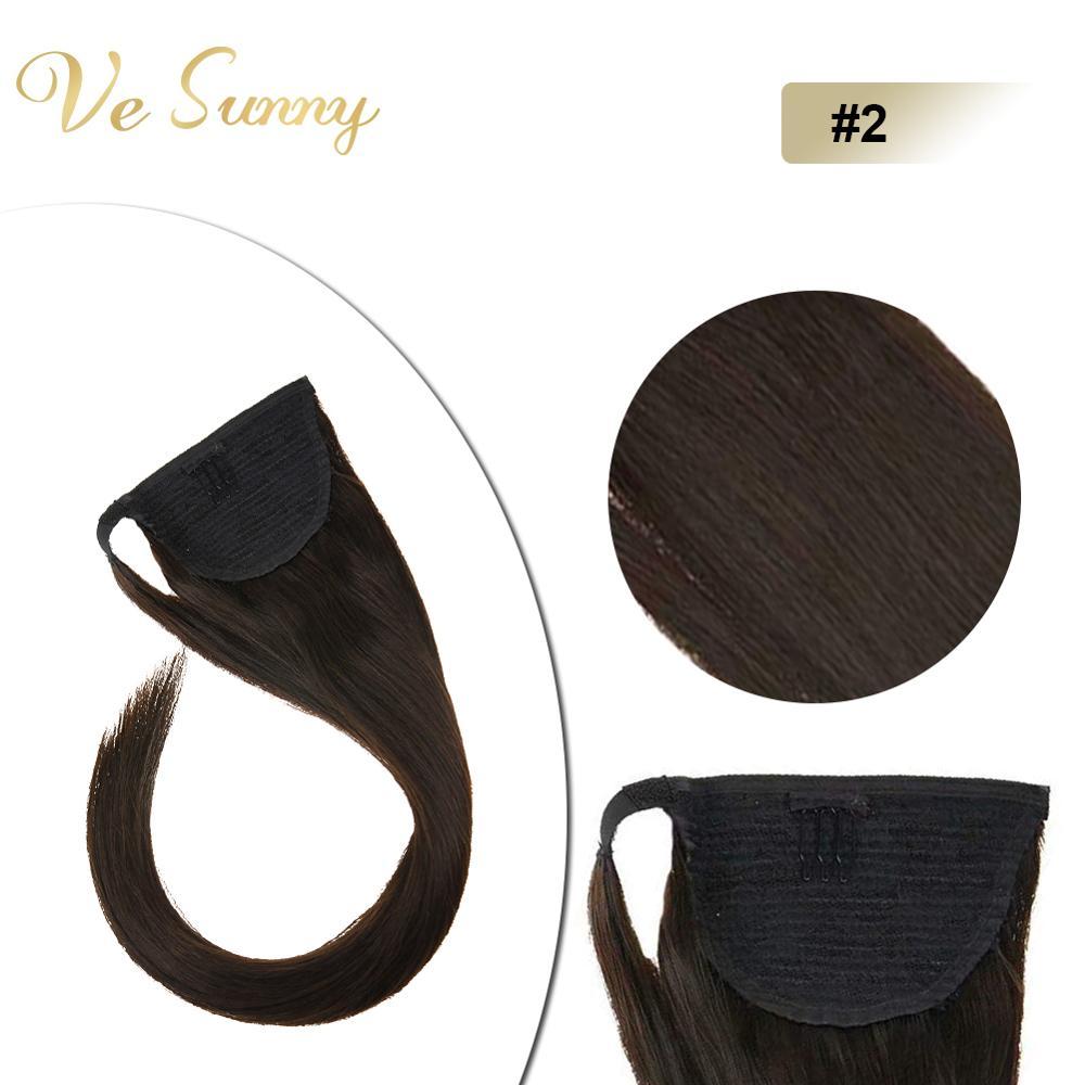 VeSunny Ponytail Extensions Wrap Around Magic Tape 100% Human Hair Straight Dark Brown #2