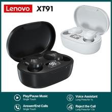 Lenovo xt91 tws fones de ouvido de controle de toque esporte fone sweatproof in-ear fones de ouvido com microfone bluetooth 5.0 verdadeiro sem fio fones de ouvido
