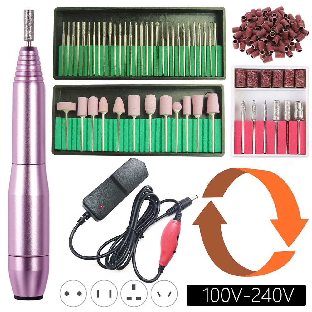 20000RPM Electric Nail Drill Machine Manicure Set Pedicure Kit Left Hand Nail Drill File Bits Gel Cuticle Remover Polishing Tool
