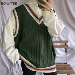 Sweater Vest Men Patchwork V-neck Colorful Shrug Chic Sleeveless Knitted Tops Mens Waistcoats Loose Oversize Harajuku All-match