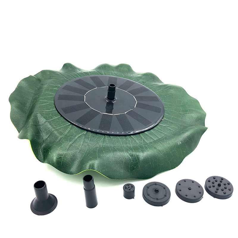 AMKOY  Solar Fountain Simulation Lotus Leaf Suspension Solar Sprinkler 1.4W 4 Nozzle Set Suitable for Garden Decoration