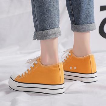 Zapatos de lona con cordones y tacón de plataforma para mujer, zapatillas con cuña de alta calidad, zapatillas de moda transpirables para mujer, zapatillas de lona, tendencia