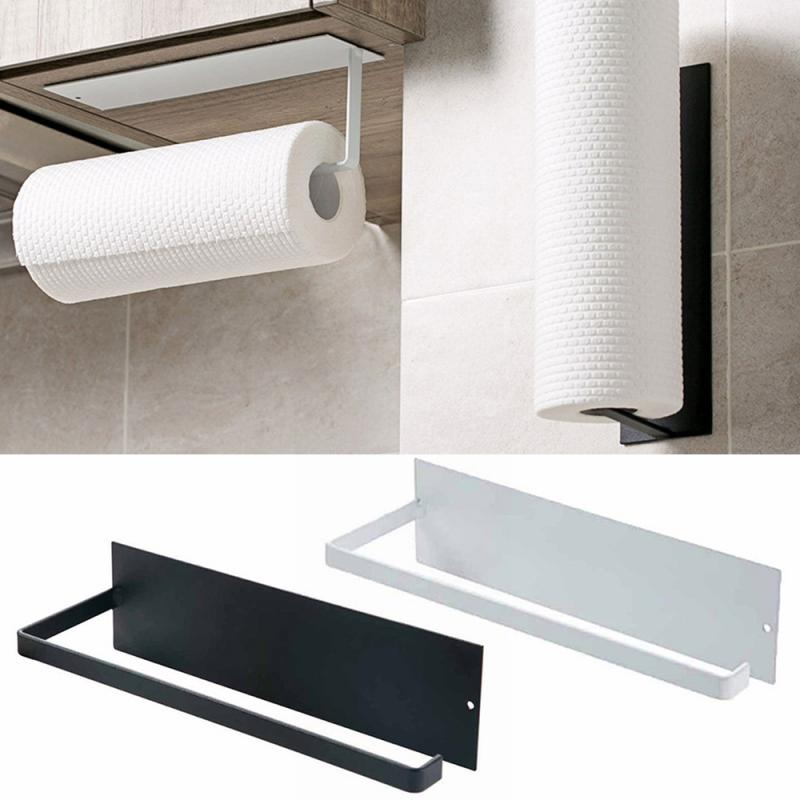 Kitchen Toilet Self-adhesive Roll Paper Rack Towel Holder Tissue Hanger Rack Nail-Free Cabinet Shelf Sundries Accessories