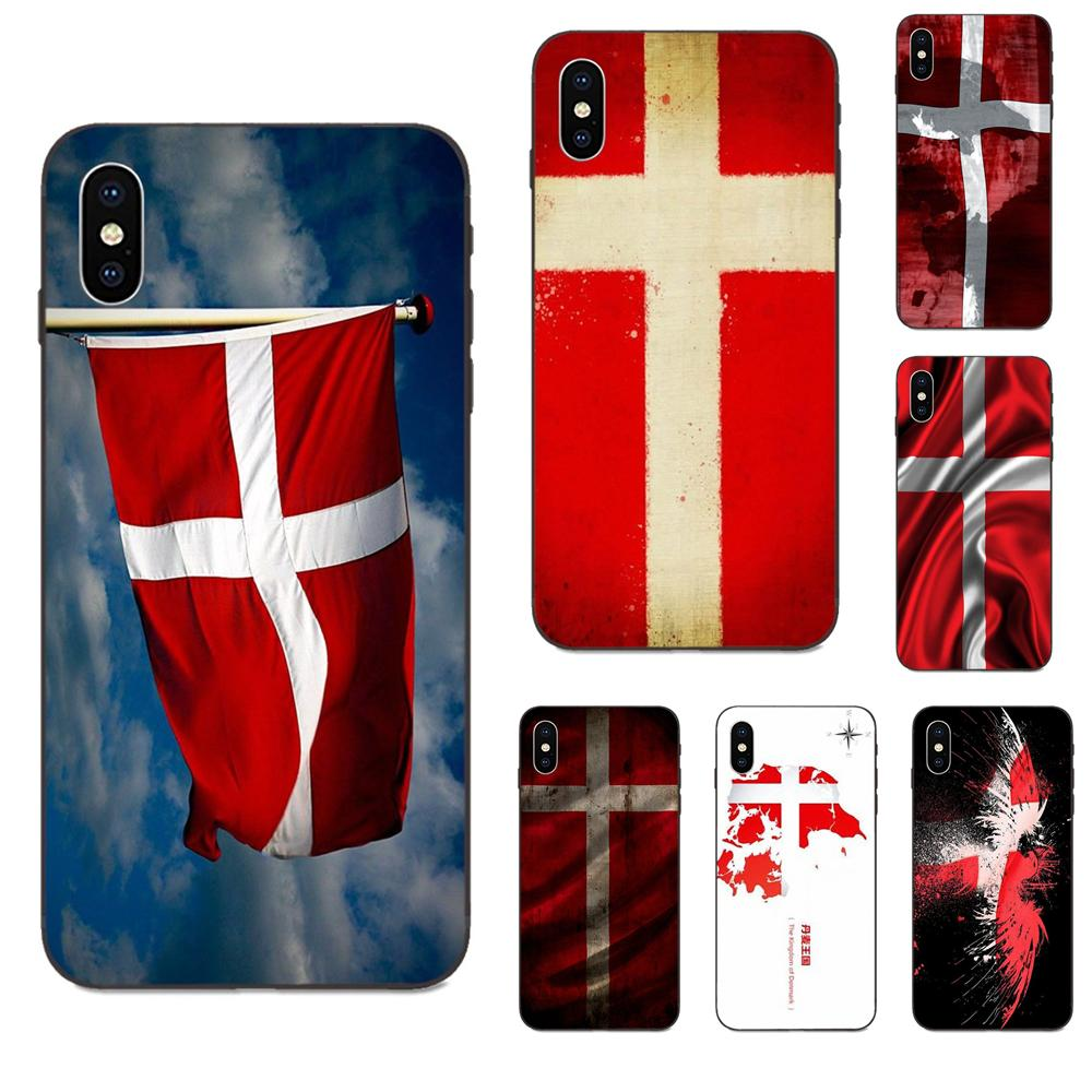 For Huawei Honor 5A 6A 6C 7A 7C 7X 8 8A 8C 8X 9 9X 10 10i 20 Lite Pro Soft TPU Cases Cover Danmark Flag