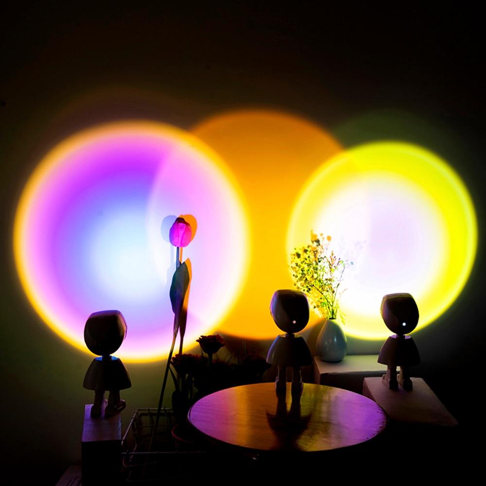 Закат радуга Лампа для проектора атмосферу USB нажатием кнопки светодиодный ночной Светильник для дома Кофе магазин фон украшение стены прогнозируемый лампа - Товары из ТикТока, которые нужны каждому