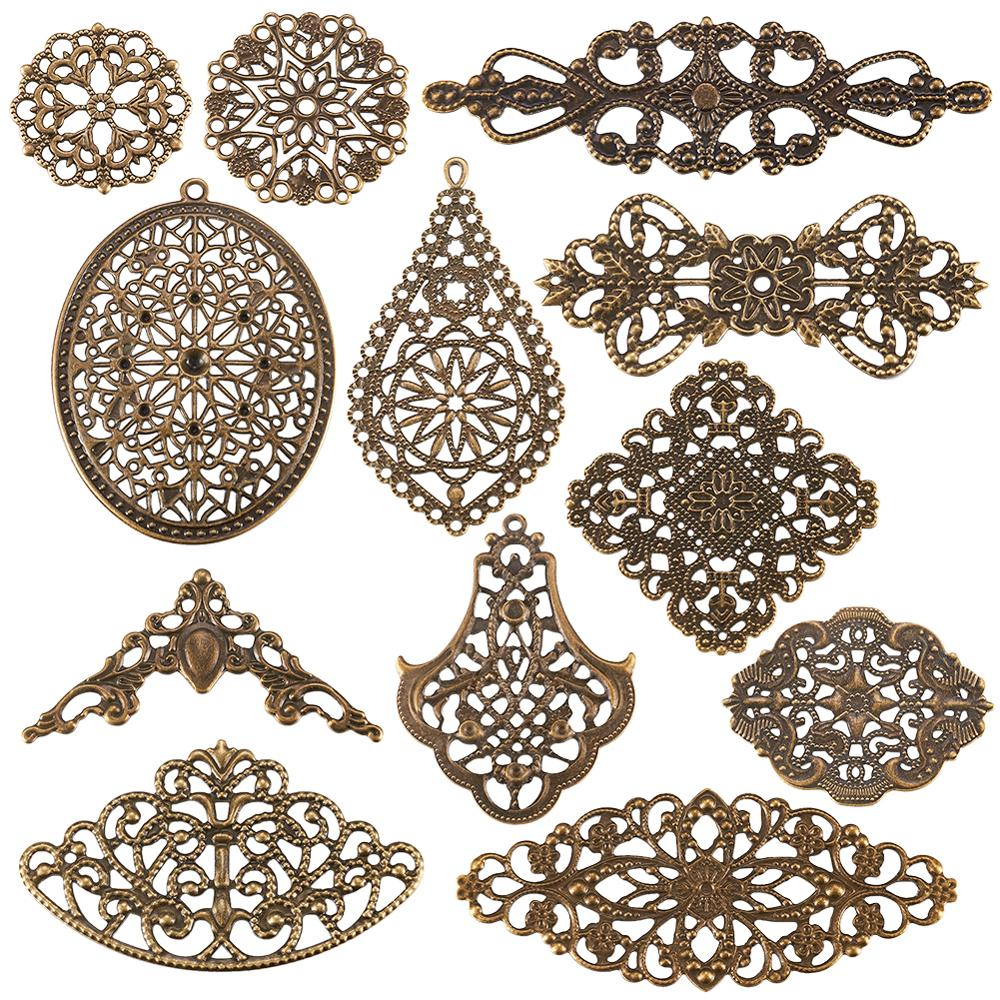 120pcs/box Iron Filigree Joiners Links Computer Beaded Patch For Jewelry Making DIY Bracelet Necklace Mixed Shape Antique Bronze