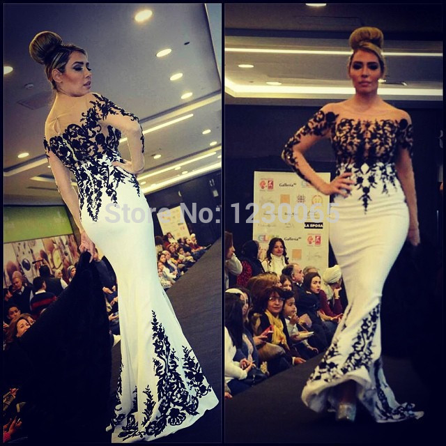 White And Black Evening Gown With Long Sleeve 2018 Mermaid Floor Length Strapless Special Occasion Mother Of The Bride Dresses