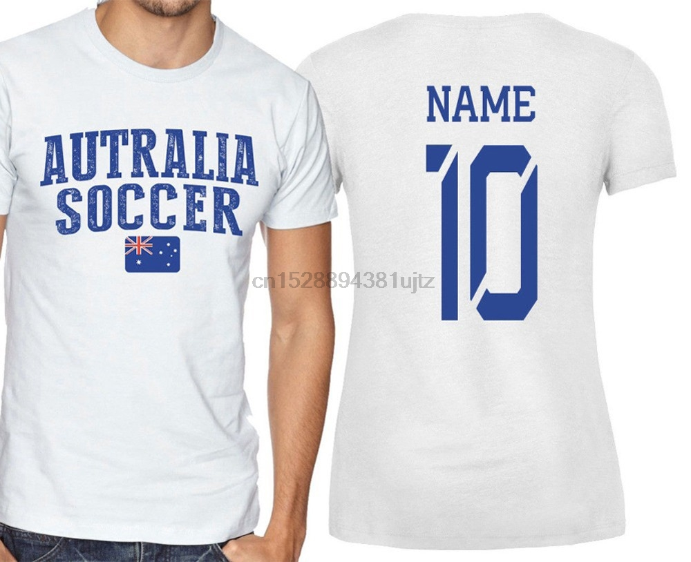Sleeved Cotton T-Shirt Australia T-shirt Soccers Jersey any Sporter Add Any Name and Number men adults O-Neck T Shirt Men
