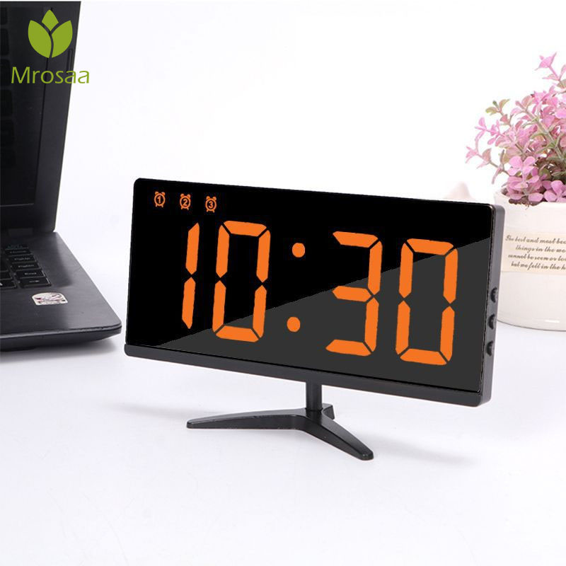 2019Digital Alarm Clocks LED Mirror Clocks Multifunction Snooze Display Temperature Time Night LCD Light Table Desktop USB Cable image
